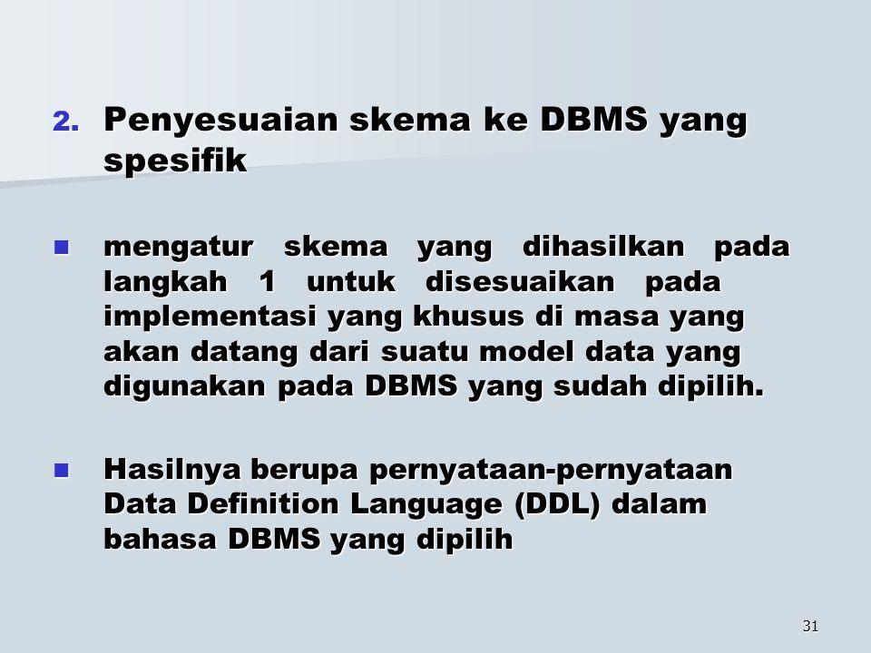 31 2. Penyesuaian skema ke DBMS yang spesifik mengatur skema yang dihasilkan pada langkah 1 untuk disesuaikan pada implementasi yang khusus di masa ya