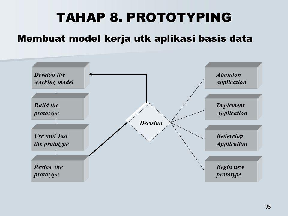 35 TAHAP 8. PROTOTYPING Membuat model kerja utk aplikasi basis data Develop the working model Build the prototype Use and Test the prototype Review th