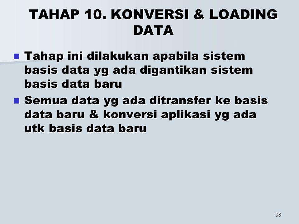 38 TAHAP 10. KONVERSI & LOADING DATA Tahap ini dilakukan apabila sistem basis data yg ada digantikan sistem basis data baru Tahap ini dilakukan apabil