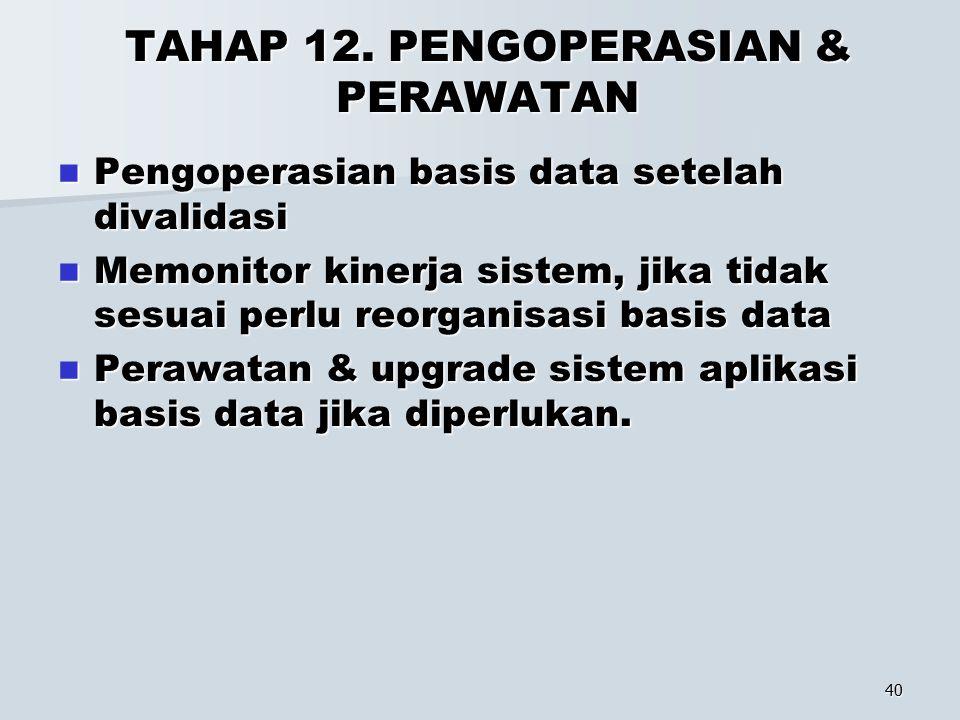 40 TAHAP 12. PENGOPERASIAN & PERAWATAN Pengoperasian basis data setelah divalidasi Pengoperasian basis data setelah divalidasi Memonitor kinerja siste