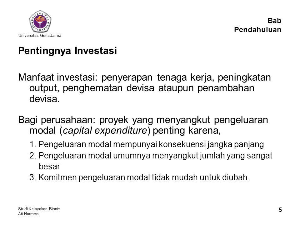 Universitas Gunadarma Studi Kelayakan Bisnis Ati Harmoni 5 Pentingnya Investasi Manfaat investasi: penyerapan tenaga kerja, peningkatan output, penghe