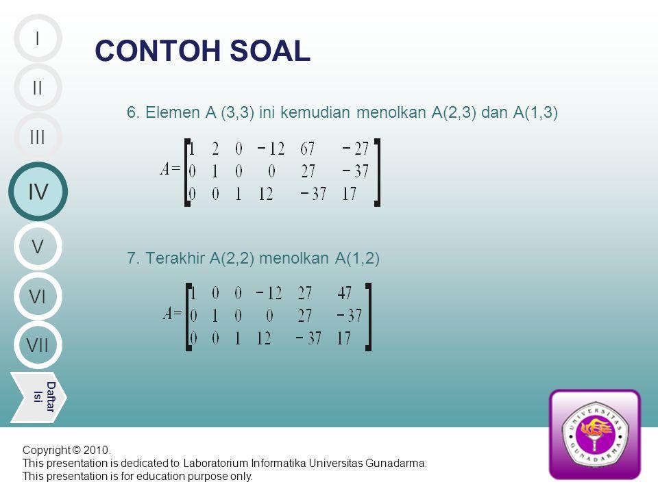 6. Elemen A (3,3) ini kemudian menolkan A(2,3) dan A(1,3) 7.