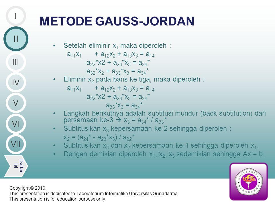DO 6 I = 1, ORDO DO 5 J = 1, ORDO WRITE (*, (2X, ELEMEN ( ,I1, , ,I2, ) = ,\) ) I, J READ (*, *) M(I,J) 5 CONTINUE 6 CONTINUE C ******* M A T R I K S G A B U N G A N ******** DO 9 I = 1, ORDO DO 8 J = 1, ORDO*2 IF (J.LT.(ORDO+1)) THEN CONTOH PROGRAM II V Daftar Isi III IV I VI VII 2/7 Bersambung ke slide berikutnya Copyright © 2010.