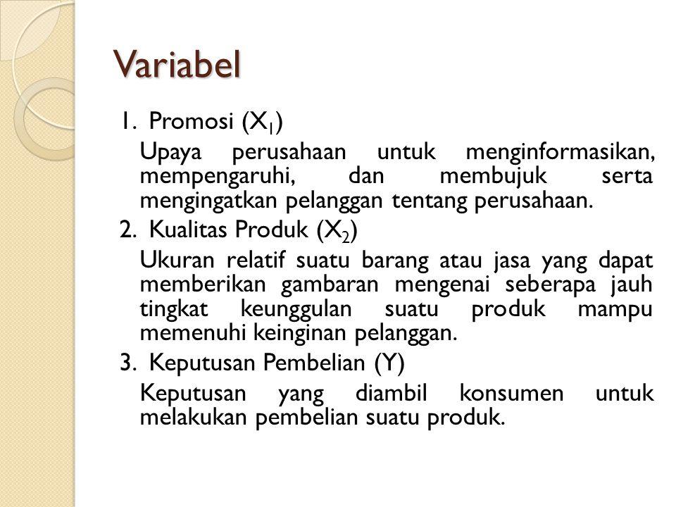 Variabel 1. Promosi (X 1 ) Upaya perusahaan untuk menginformasikan, mempengaruhi, dan membujuk serta mengingatkan pelanggan tentang perusahaan. 2. Kua