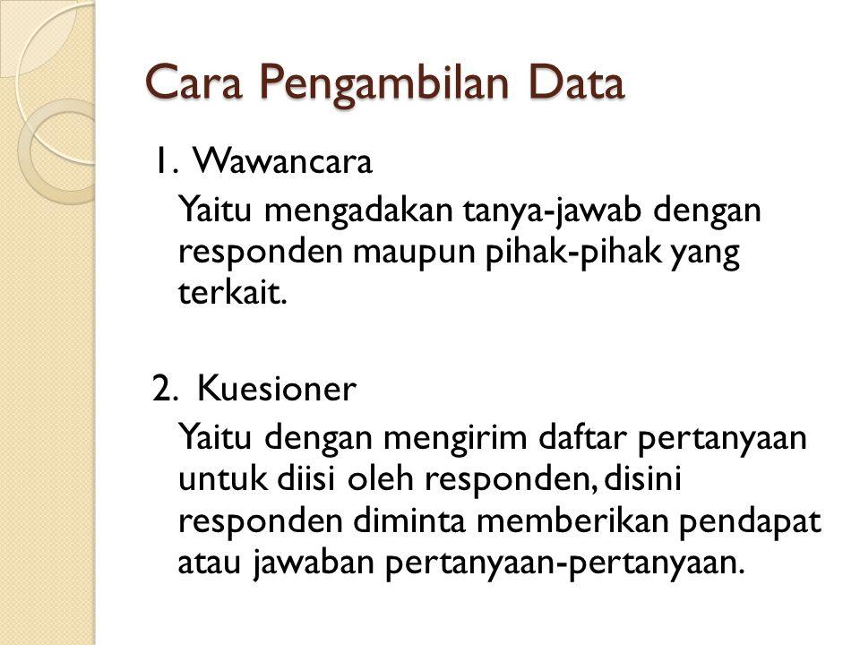 Cara Pengambilan Data 1. Wawancara Yaitu mengadakan tanya-jawab dengan responden maupun pihak-pihak yang terkait. 2. Kuesioner Yaitu dengan mengirim d