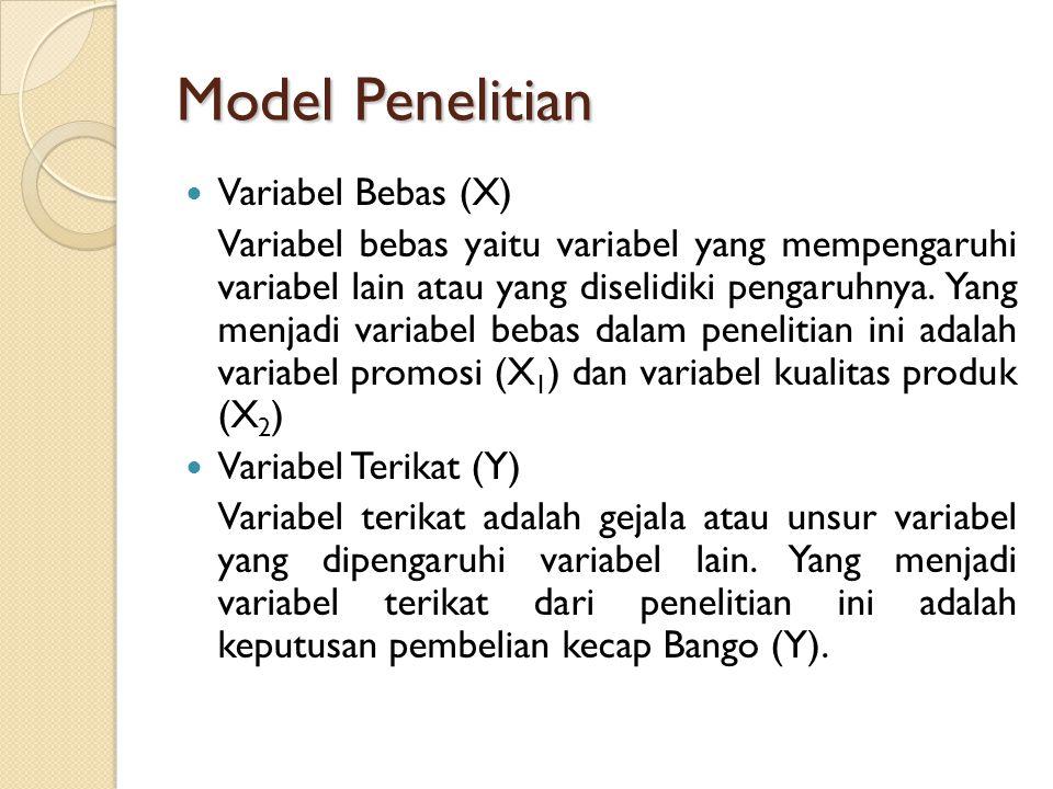 Model Penelitian Variabel Bebas (X) Variabel bebas yaitu variabel yang mempengaruhi variabel lain atau yang diselidiki pengaruhnya. Yang menjadi varia