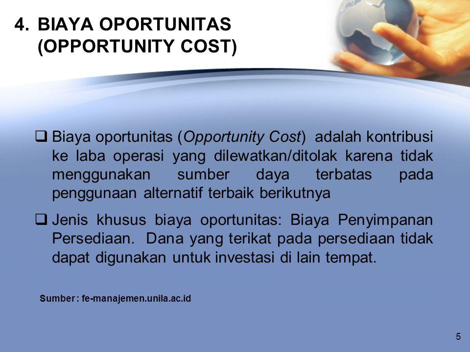 4. BIAYA OPORTUNITAS (OPPORTUNITY COST)  Biaya oportunitas (Opportunity Cost) adalah kontribusi ke laba operasi yang dilewatkan/ditolak karena tidak