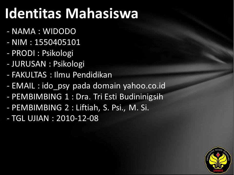 Identitas Mahasiswa - NAMA : WIDODO - NIM : 1550405101 - PRODI : Psikologi - JURUSAN : Psikologi - FAKULTAS : Ilmu Pendidikan - EMAIL : ido_psy pada domain yahoo.co.id - PEMBIMBING 1 : Dra.