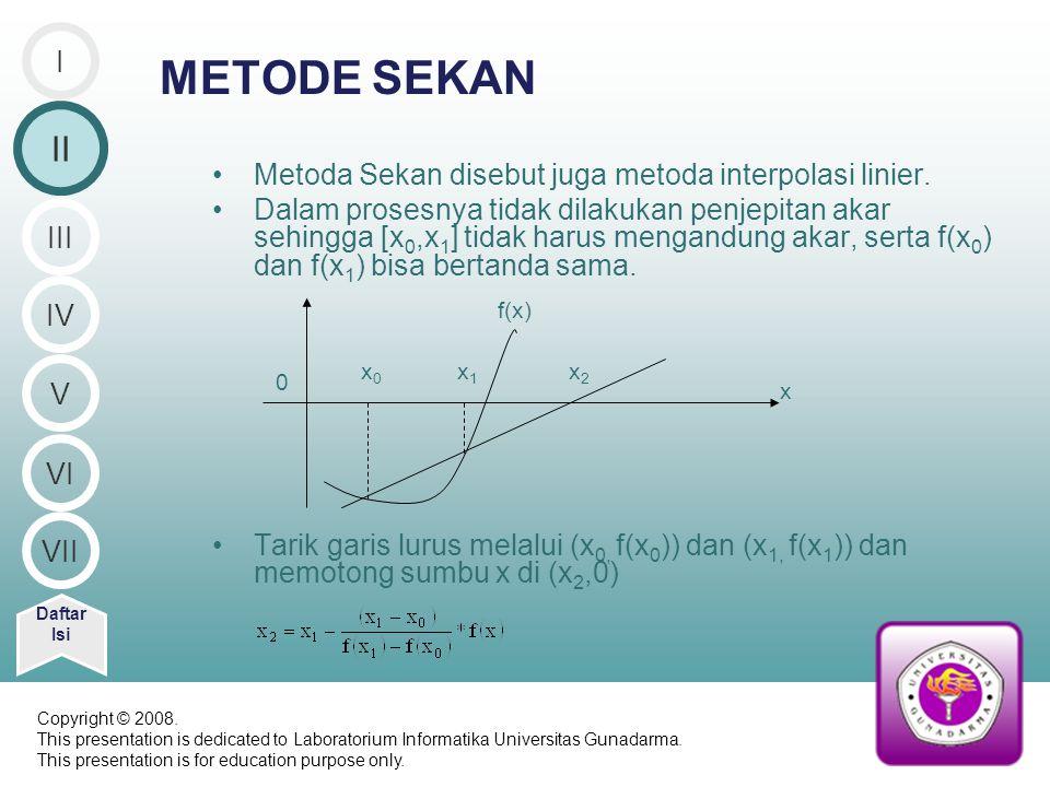 METODE SEKAN Metoda Sekan disebut juga metoda interpolasi linier. Dalam prosesnya tidak dilakukan penjepitan akar sehingga [x 0,x 1 ] tidak harus meng
