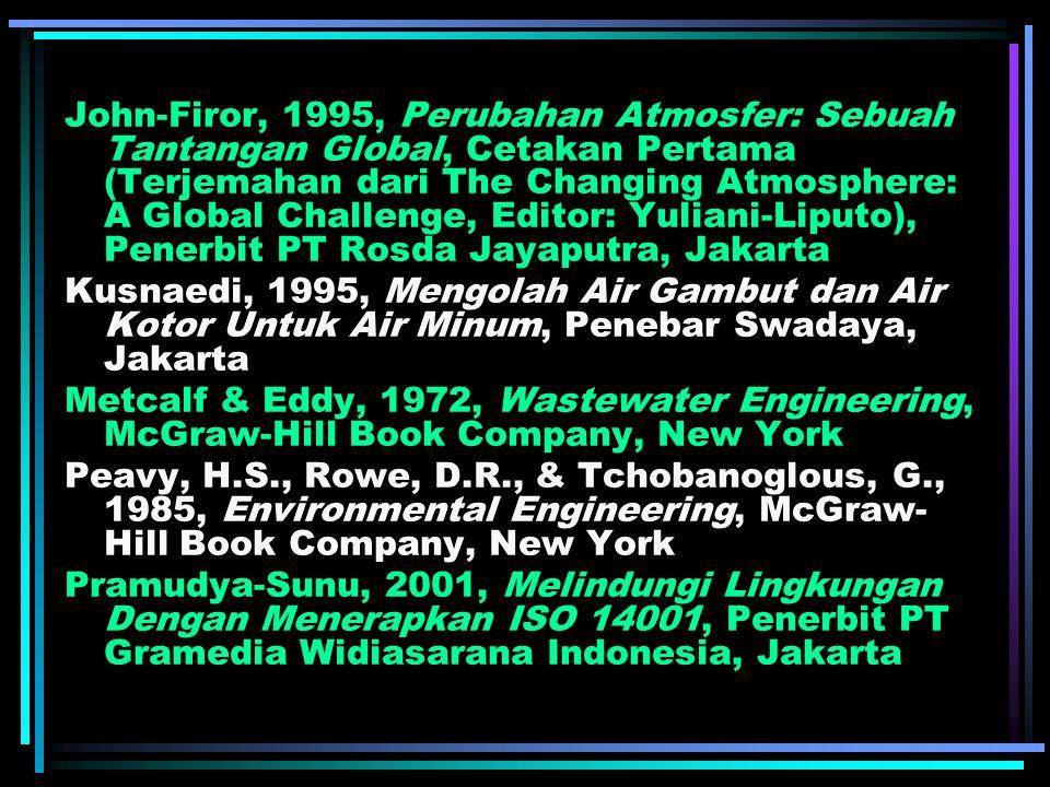 John-Firor, 1995, Perubahan Atmosfer: Sebuah Tantangan Global, Cetakan Pertama (Terjemahan dari The Changing Atmosphere: A Global Challenge, Editor: Yuliani-Liputo), Penerbit PT Rosda Jayaputra, Jakarta Kusnaedi, 1995, Mengolah Air Gambut dan Air Kotor Untuk Air Minum, Penebar Swadaya, Jakarta Metcalf & Eddy, 1972, Wastewater Engineering, McGraw-Hill Book Company, New York Peavy, H.S., Rowe, D.R., & Tchobanoglous, G., 1985, Environmental Engineering, McGraw- Hill Book Company, New York Pramudya-Sunu, 2001, Melindungi Lingkungan Dengan Menerapkan ISO 14001, Penerbit PT Gramedia Widiasarana Indonesia, Jakarta