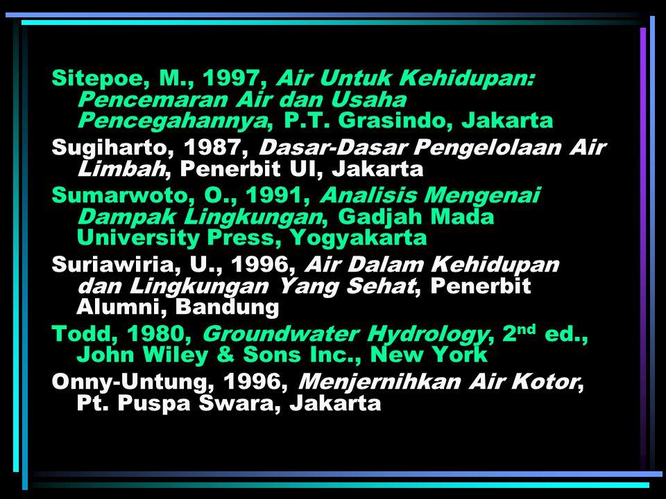 Sitepoe, M., 1997, Air Untuk Kehidupan: Pencemaran Air dan Usaha Pencegahannya, P.T.