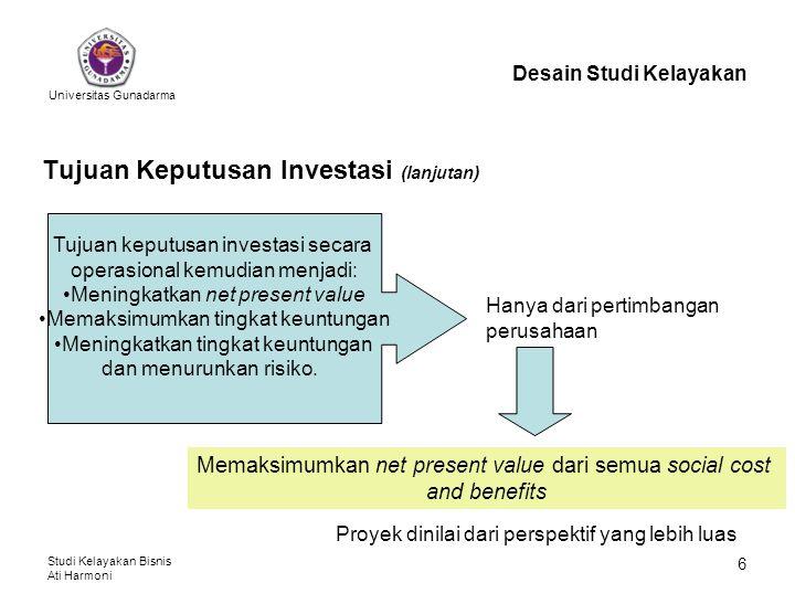 Universitas Gunadarma Studi Kelayakan Bisnis Ati Harmoni 6 Tujuan Keputusan Investasi (lanjutan) Desain Studi Kelayakan Memaksimumkan net present val