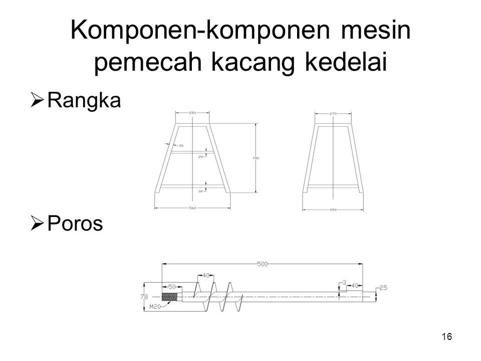 16 Komponen-komponen mesin pemecah kacang kedelai  Rangka  Poros