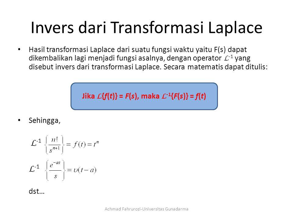 Invers dari Transformasi Laplace Hasil transformasi Laplace dari suatu fungsi waktu yaitu F(s) dapat dikembalikan lagi menjadi fungsi asalnya, dengan operator L -1 yang disebut invers dari transformasi Laplace.