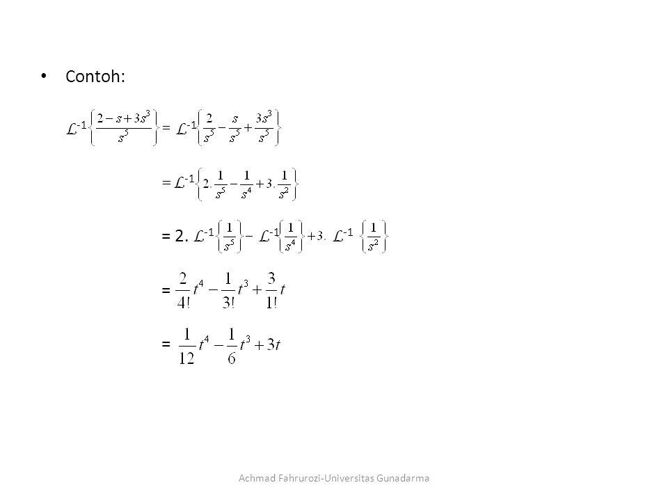 Contoh: L -1 = L -1 = 2. L -1 L -1 L -1 = Achmad Fahrurozi-Universitas Gunadarma