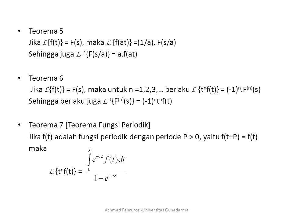Teorema 5 Jika L {f(t)} = F(s), maka L {f(at)} =(1/a).