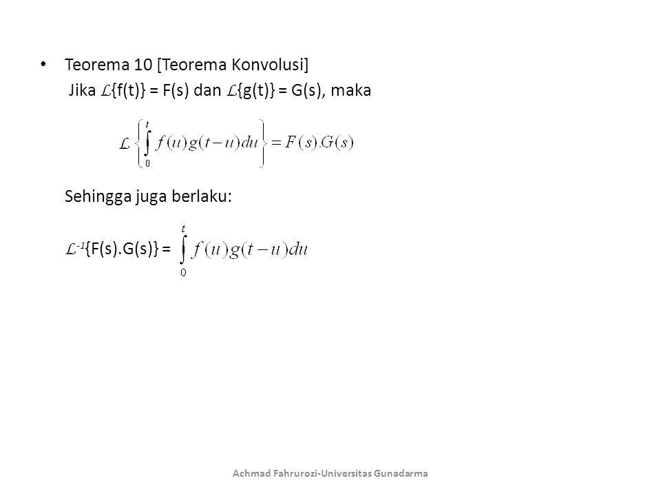Teorema 10 [Teorema Konvolusi] Jika L {f(t)} = F(s) dan L {g(t)} = G(s), maka L Sehingga juga berlaku: L -1 {F(s).G(s)} = Achmad Fahrurozi-Universitas Gunadarma