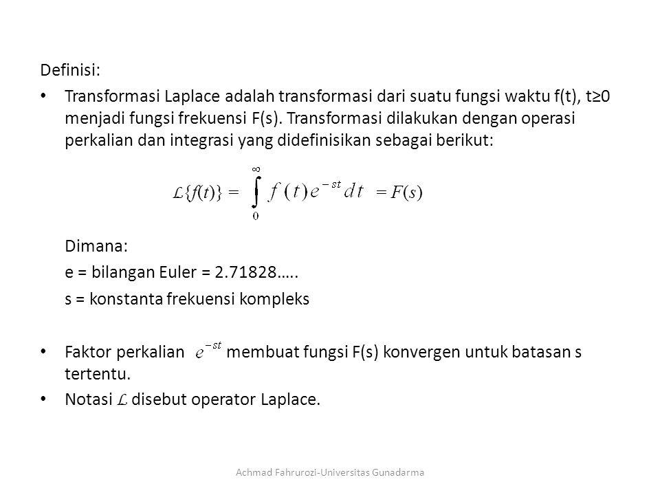 Definisi: Transformasi Laplace adalah transformasi dari suatu fungsi waktu f(t), t≥0 menjadi fungsi frekuensi F(s).