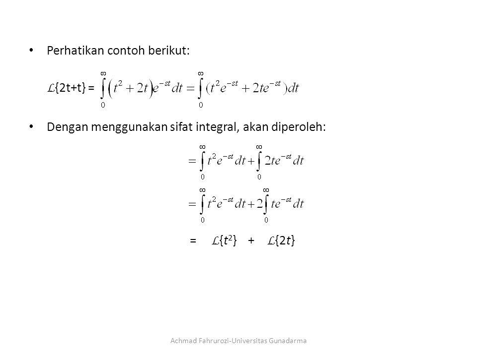 Perhatikan contoh berikut: L {2t+t} = Dengan menggunakan sifat integral, akan diperoleh: = L {t 2 } + L {2t} Achmad Fahrurozi-Universitas Gunadarma