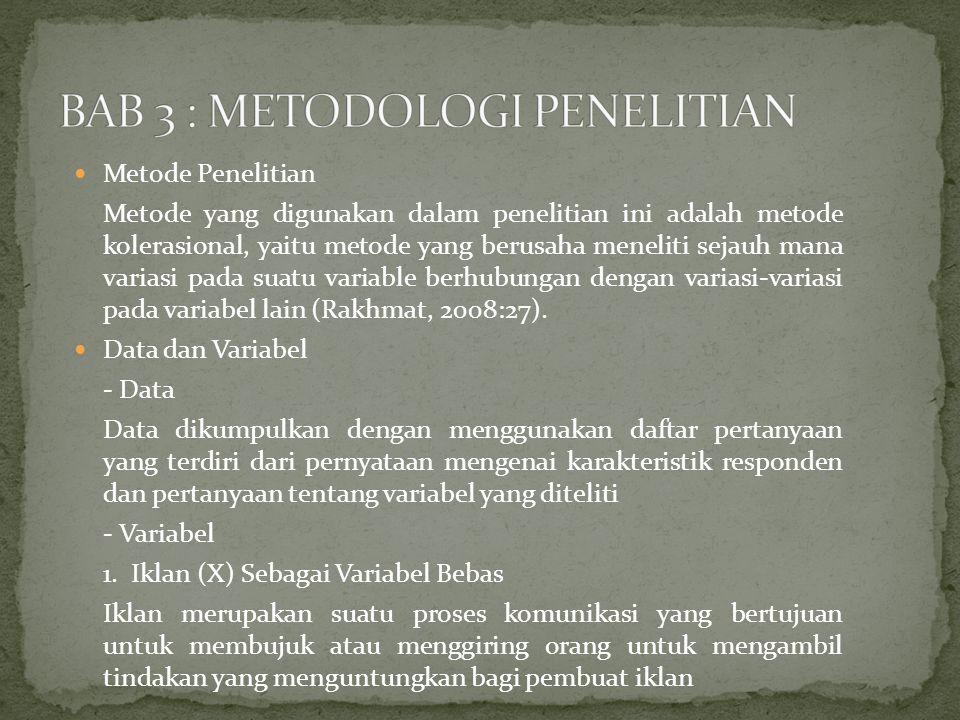 Metode Penelitian Metode yang digunakan dalam penelitian ini adalah metode kolerasional, yaitu metode yang berusaha meneliti sejauh mana variasi pada