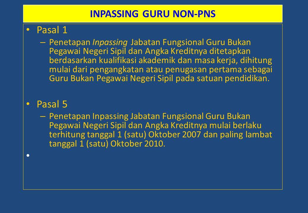 INPASSING GURU NON-PNS Pasal 1 – Penetapan Inpassing Jabatan Fungsional Guru Bukan Pegawai Negeri Sipil dan Angka Kreditnya ditetapkan berdasarkan kua