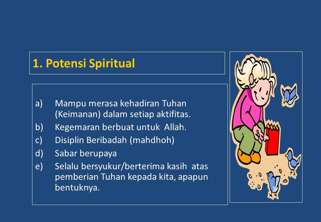 a)Mampu merasa kehadiran Tuhan (Keimanan) dalam setiap aktifitas. b)Kegemaran berbuat untuk Allah. c)Disiplin Beribadah (mahdhoh) d)Sabar berupaya e)S