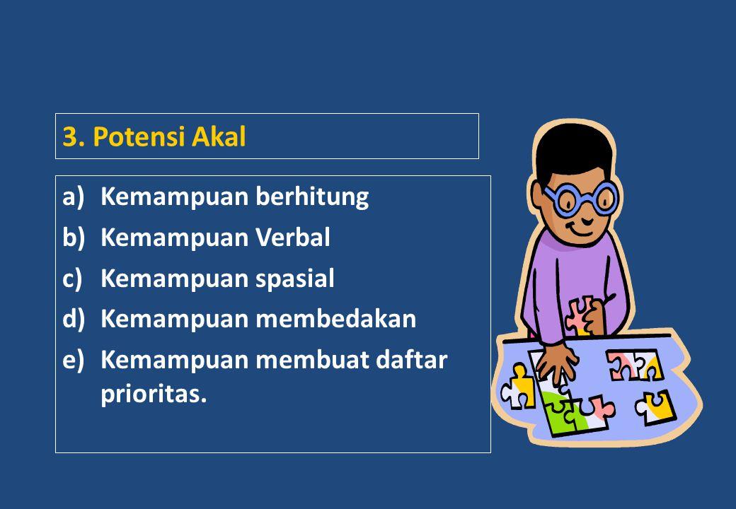 3. Potensi Akal a)Kemampuan berhitung b)Kemampuan Verbal c)Kemampuan spasial d)Kemampuan membedakan e)Kemampuan membuat daftar prioritas.