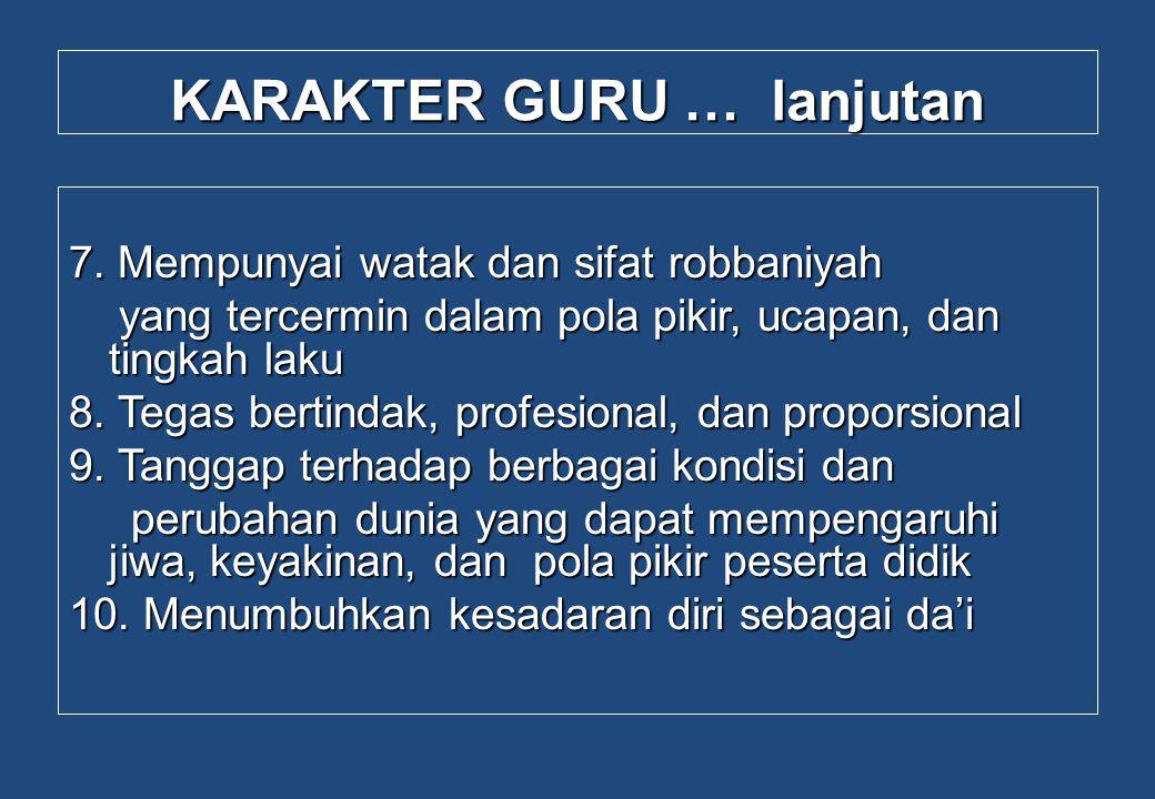 KARAKTER GURU … lanjutan 7. Mempunyai watak dan sifat robbaniyah yang tercermin dalam pola pikir, ucapan, dan tingkah laku yang tercermin dalam pola p
