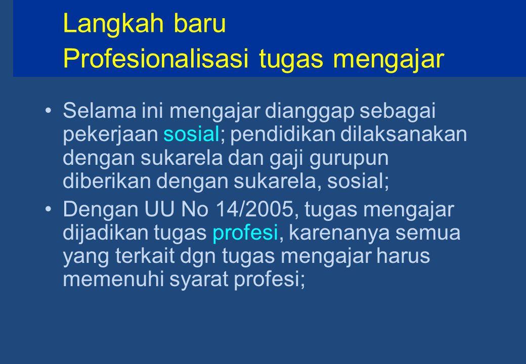 Langkah baru Profesionalisasi tugas mengajar Selama ini mengajar dianggap sebagai pekerjaan sosial; pendidikan dilaksanakan dengan sukarela dan gaji g