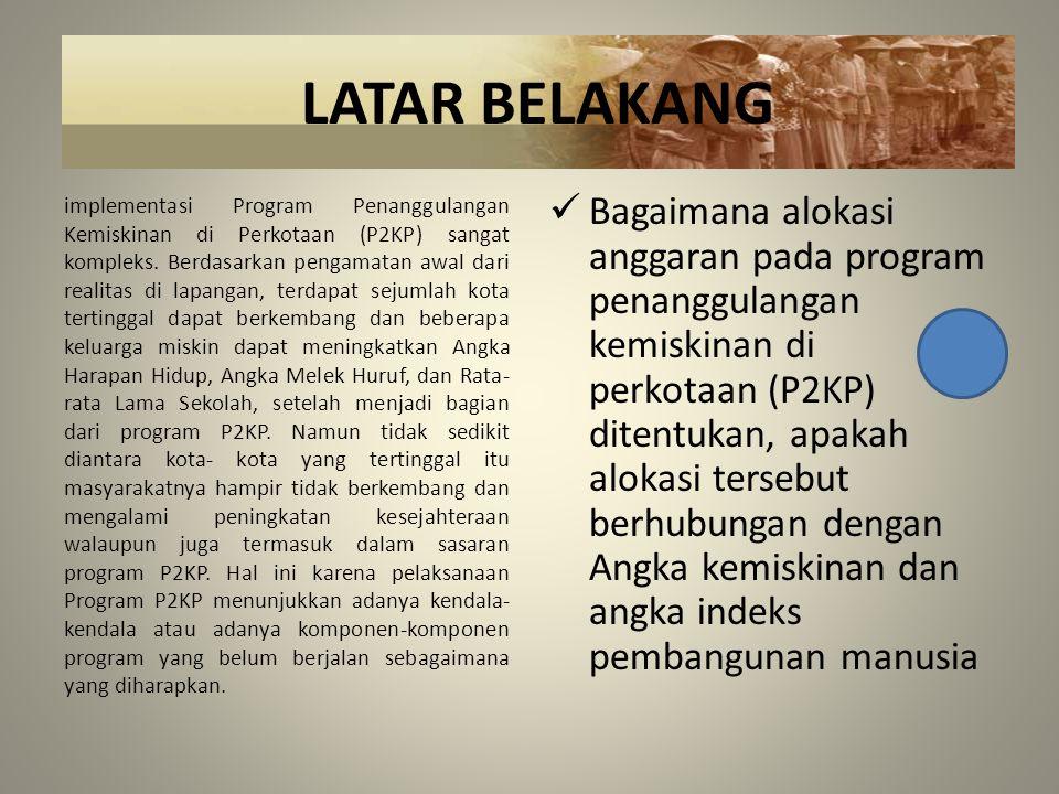 BATASAN MASALAH 1.Berdasarkan identifikasi masalah, maka penelitian dibatasi pada hubungan kesejahteraan masyarakat melalui indikator; Indeks Pembangunan Manusia (IPM) pada tahun 2006 dan Angka kemiskinan pada tahun yang sama, dengan alokasi anggaran program penanggulangan kemiskinan di perkotaan (P2KP) pada periode tahun 2007.