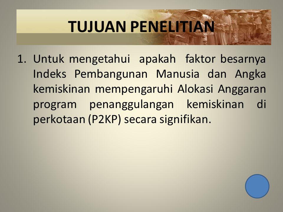 TUJUAN PENELITIAN 1.Untuk mengetahui apakah faktor besarnya Indeks Pembangunan Manusia dan Angka kemiskinan mempengaruhi Alokasi Anggaran program penanggulangan kemiskinan di perkotaan (P2KP) secara signifikan.