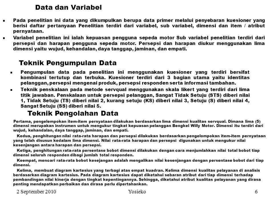 2 September 2010 Yosieko6 Data dan Variabel Teknik Pengumpulan Data Pada penelitian ini data yang dikumpulkan berupa data primer melalui penyebaran kuesioner yang berisi daftar pertanyaan Penelitian terdiri dari variabel, sub variabel, dimensi dan item / atribut pernyataan.