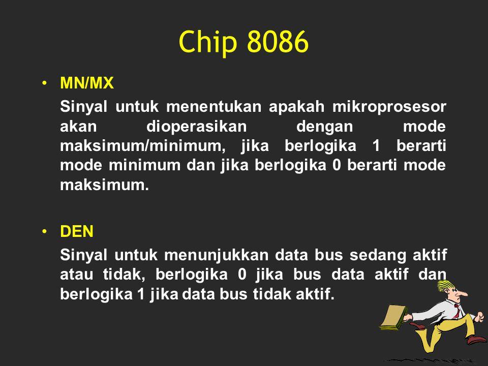 Chip 8086 MN/MX Sinyal untuk menentukan apakah mikroprosesor akan dioperasikan dengan mode maksimum/minimum, jika berlogika 1 berarti mode minimum dan