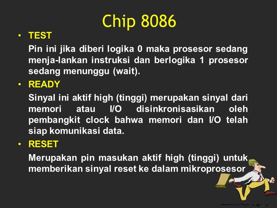 Chip 8086 TEST Pin ini jika diberi logika 0 maka prosesor sedang menja-lankan instruksi dan berlogika 1 prosesor sedang menunggu (wait). READY Sinyal