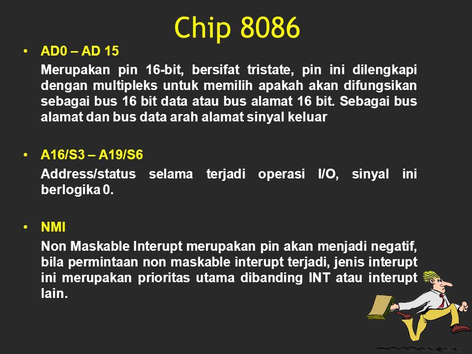 AD0 – AD 15 Merupakan pin 16-bit, bersifat tristate, pin ini dilengkapi dengan multipleks untuk memilih apakah akan difungsikan sebagai bus 16 bit dat
