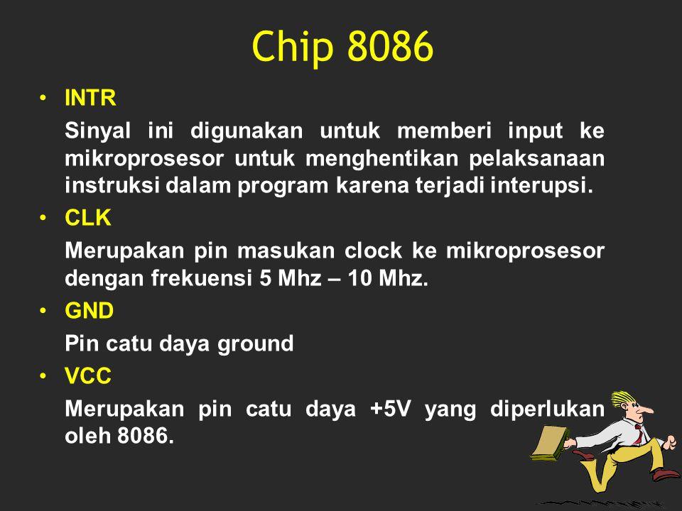 Chip 8086 INTR Sinyal ini digunakan untuk memberi input ke mikroprosesor untuk menghentikan pelaksanaan instruksi dalam program karena terjadi interup