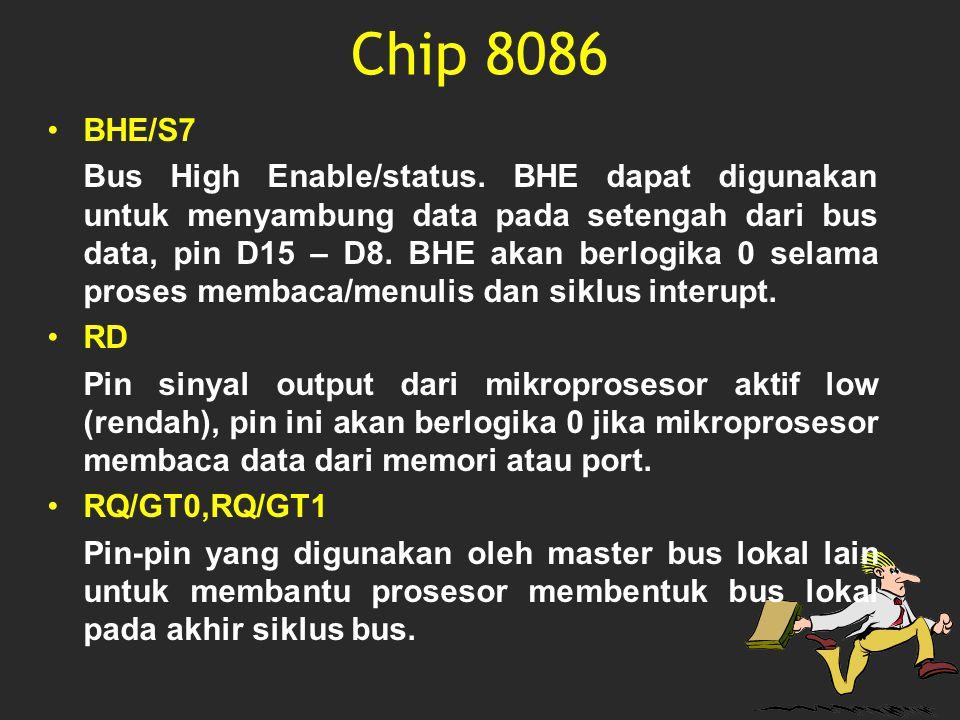 Chip 8086 BHE/S7 Bus High Enable/status. BHE dapat digunakan untuk menyambung data pada setengah dari bus data, pin D15 – D8. BHE akan berlogika 0 sel