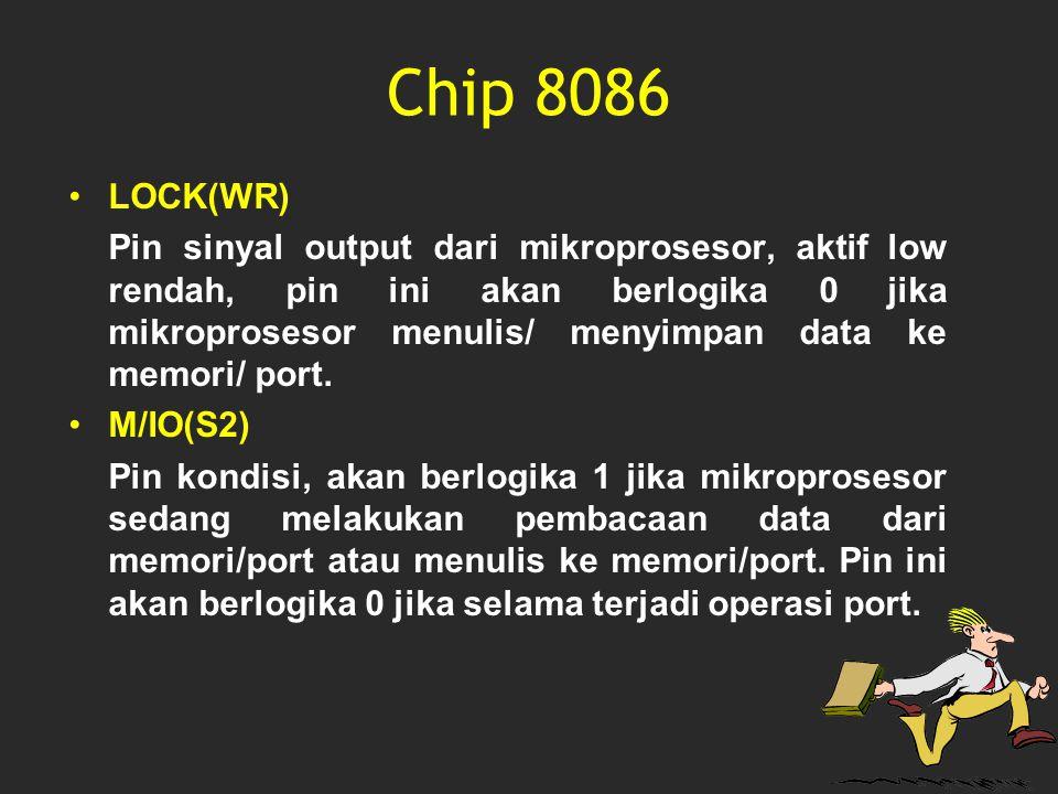 Chip 8086 LOCK(WR) Pin sinyal output dari mikroprosesor, aktif low rendah, pin ini akan berlogika 0 jika mikroprosesor menulis/ menyimpan data ke memo