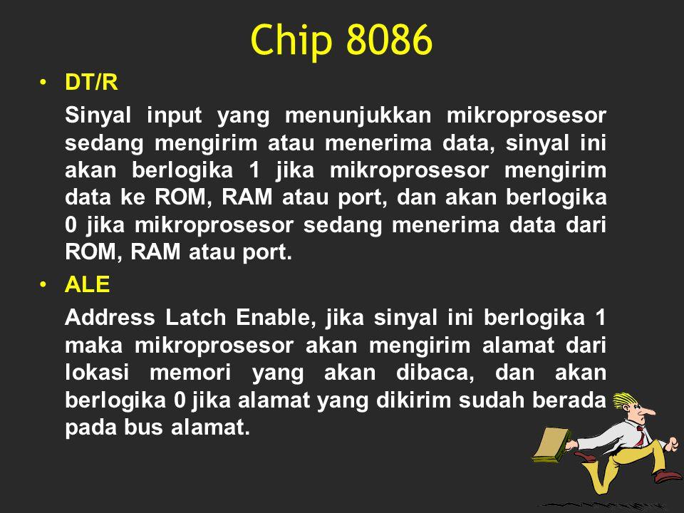 Chip 8086 DT/R Sinyal input yang menunjukkan mikroprosesor sedang mengirim atau menerima data, sinyal ini akan berlogika 1 jika mikroprosesor mengirim
