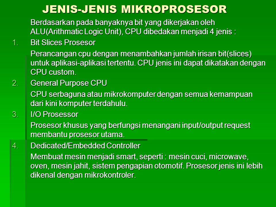 JENIS-JENIS MIKROPROSESOR Berdasarkan pada banyaknya bit yang dikerjakan oleh ALU(Arithmatic Logic Unit), CPU dibedakan menjadi 4 jenis : 1.Bit Slices