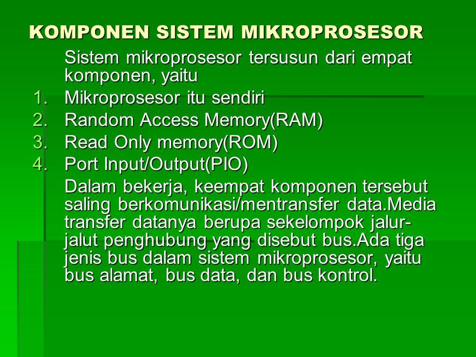 KOMPONEN SISTEM MIKROPROSESOR Sistem mikroprosesor tersusun dari empat komponen, yaitu 1.Mikroprosesor itu sendiri 2.Random Access Memory(RAM) 3.Read