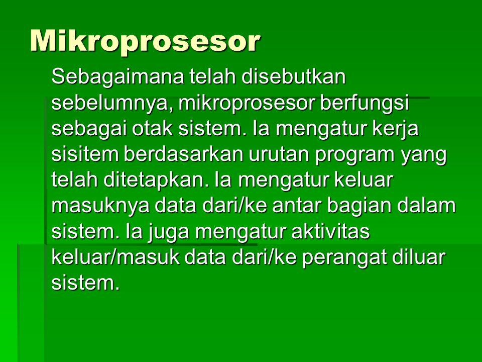 Mikroprosesor Sebagaimana telah disebutkan sebelumnya, mikroprosesor berfungsi sebagai otak sistem. Ia mengatur kerja sisitem berdasarkan urutan progr