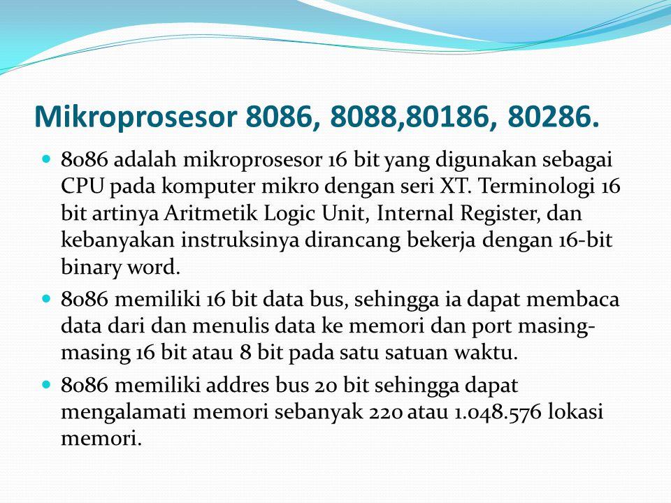 Mikroprosesor 8086, 8088,80186, 80286.