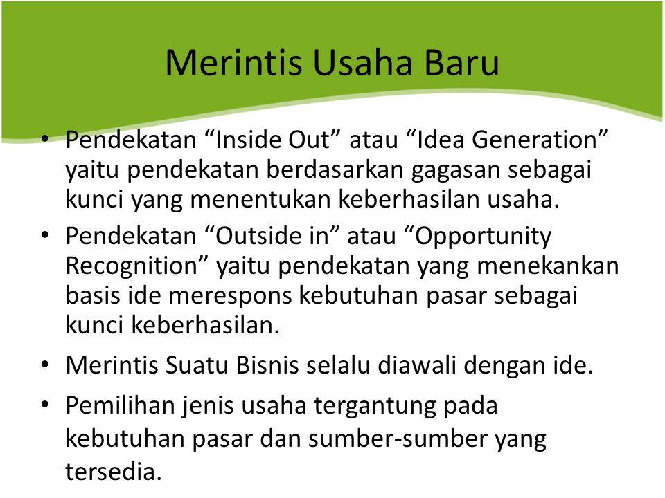 "Merintis Usaha Baru Pendekatan ""Inside Out"" atau ""Idea Generation"" yaitu pendekatan berdasarkan gagasan sebagai kunci yang menentukan keberhasilan usa"