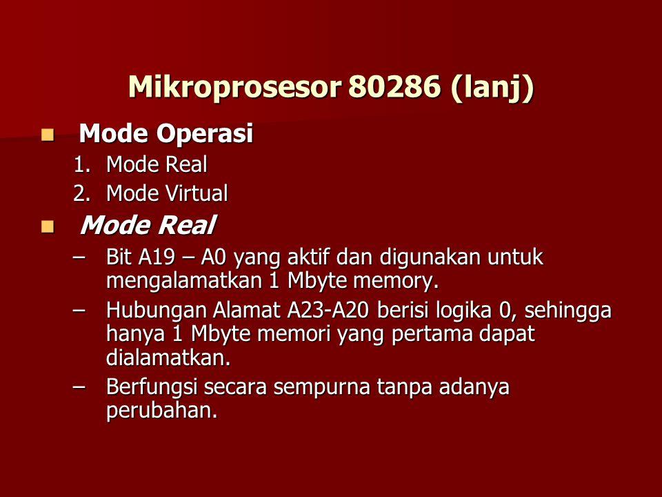 Mikroprosesor 80286 (lanj) Mode Operasi Mode Operasi 1.Mode Real 2.Mode Virtual Mode Real Mode Real –Bit A19 – A0 yang aktif dan digunakan untuk mengalamatkan 1 Mbyte memory.