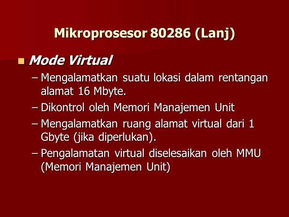Mikroprosesor 80286 (Lanj) Mode Virtual Mode Virtual –Mengalamatkan suatu lokasi dalam rentangan alamat 16 Mbyte.