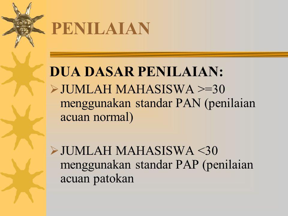 PENILAIAN DUA DASAR PENILAIAN:  JUMLAH MAHASISWA >=30 menggunakan standar PAN (penilaian acuan normal)  JUMLAH MAHASISWA <30 menggunakan standar PAP
