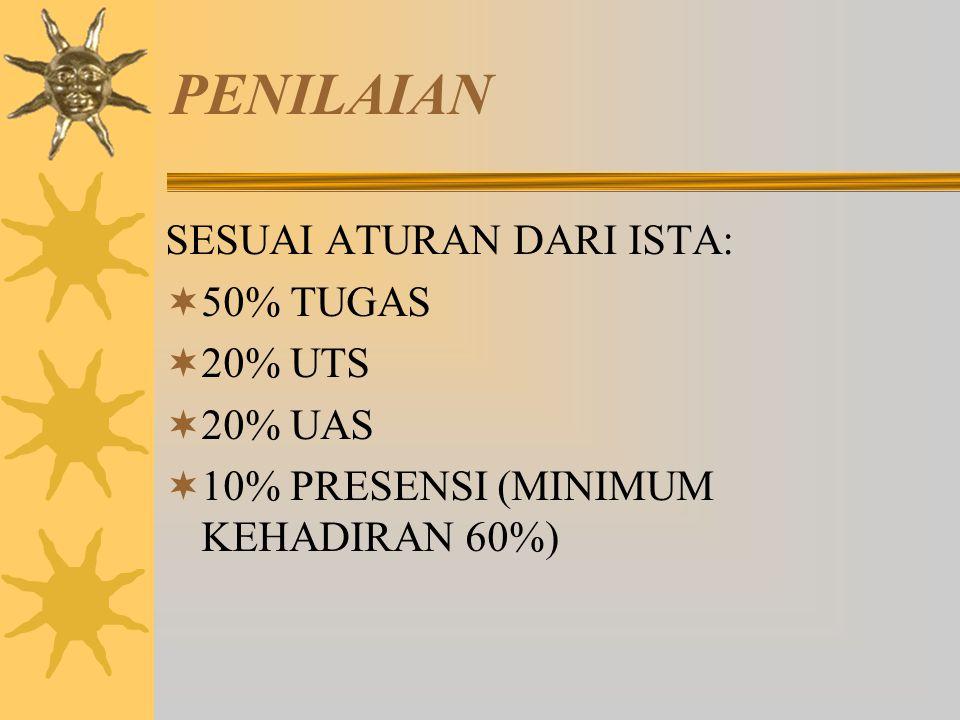 PENILAIAN SESUAI ATURAN DARI ISTA:  50% TUGAS  20% UTS  20% UAS  10% PRESENSI (MINIMUM KEHADIRAN 60%)