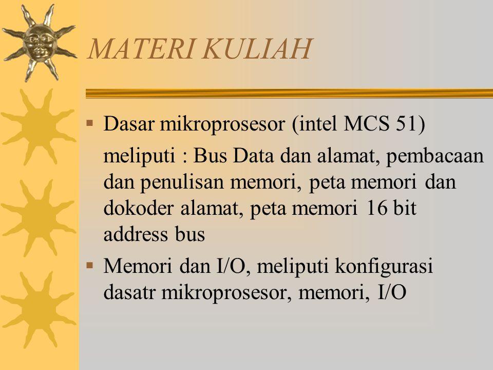 MATERI KULIAH  Dasar mikroprosesor (intel MCS 51) meliputi : Bus Data dan alamat, pembacaan dan penulisan memori, peta memori dan dokoder alamat, pet
