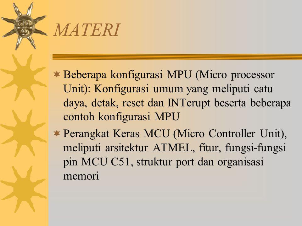 MATERI  Beberapa konfigurasi MPU (Micro processor Unit): Konfigurasi umum yang meliputi catu daya, detak, reset dan INTerupt beserta beberapa contoh